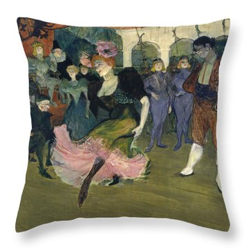 Marcelle Lender Dancing The Bolero In Chilperic Throw Pillow by Henri de Toulouse-Lautrec