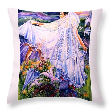 Throw Pillow featuring the painting March Bride With Boxing Hares  by Trudi Doyle