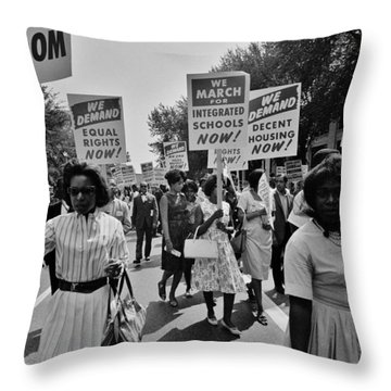 March For Equality Throw Pillow by Benjamin Yeager