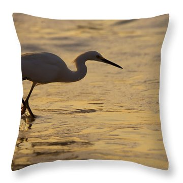 March Of The Egret Throw Pillow