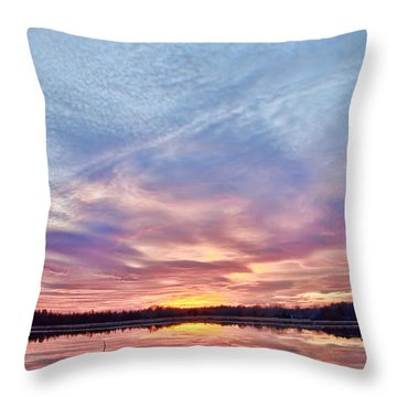Throw Pillow featuring the photograph March Sunset At Whitesbog by Beth Sawickie
