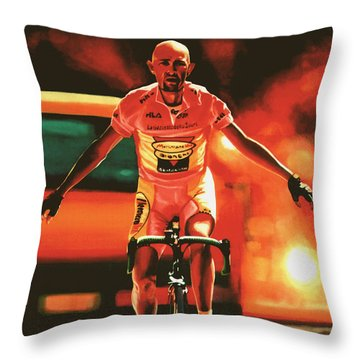 Marco Pantani Throw Pillow by Paul Meijering