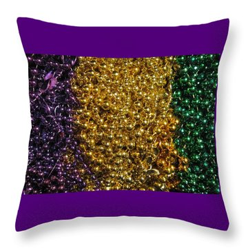 Mardi Gras Beads - New Orleans La Throw Pillow