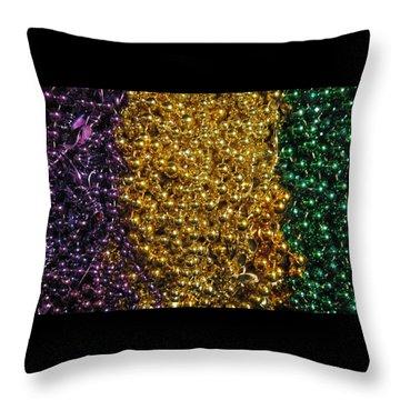 Mardi Gras Beads - New Orleans La Throw Pillow