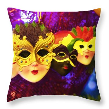 Mardi Gras Christmas Throw Pillow