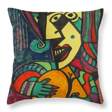 Mardi Gras Madam Throw Pillow