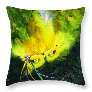 Throw Pillow featuring the painting Mardi Gras On Green by Alys Caviness-Gober