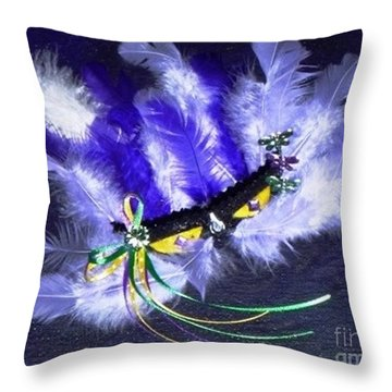 Throw Pillow featuring the painting Mardi Gras On Purple by Alys Caviness-Gober