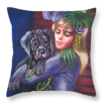 Mardi Gras Puppy Throw Pillow