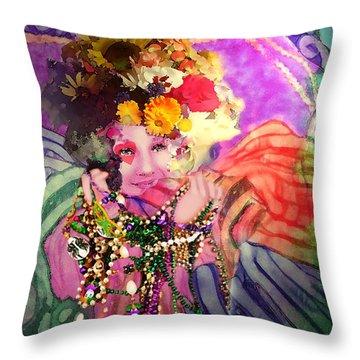 Mardi Gras Queen Throw Pillow