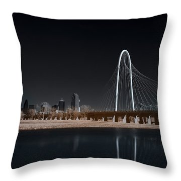 Margaret Hunt Hill Bridge And Dallas Skyline In Infrared Throw Pillow