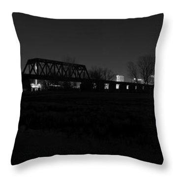 Margaret Hunt Hill Bridge Dallas Skyline Black And White Throw Pillow by Jonathan Davison