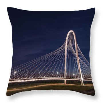 Margaret Hunt Hill Bridge In Dallas At Night Throw Pillow
