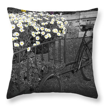 Marguerites And Bicycle Throw Pillow by Gina Dsgn