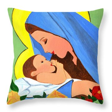 Throw Pillow featuring the painting Maria And Baby Jesus by Magdalena Frohnsdorff