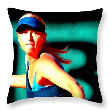 Maria Sharapova Tennis Throw Pillow by Lanjee Chee