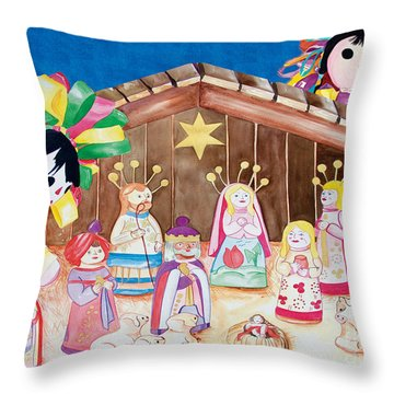 Maria Sofia And The Nativity Throw Pillow