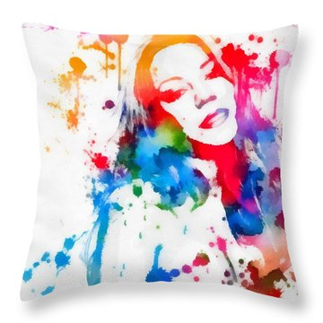 Mariah Carey Watercolor Paint Splatter Throw Pillow