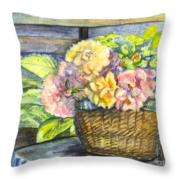 Marias Basket Of Peonies Throw Pillow