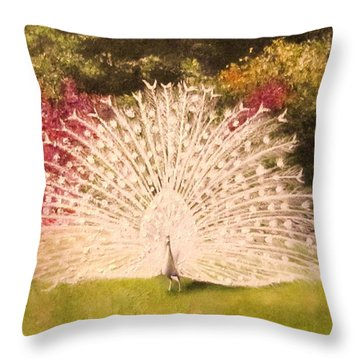 Maria's White Peacock Throw Pillow