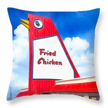 Marietta's Big Chicken Throw Pillow by Mark E Tisdale