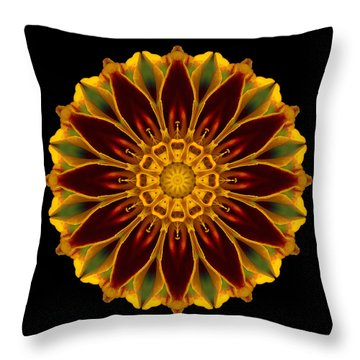 Throw Pillow featuring the photograph Marigold Flower Mandala by David J Bookbinder