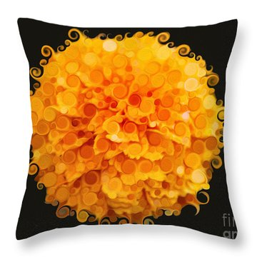 Marigold Magic Abstract Flower Art Throw Pillow