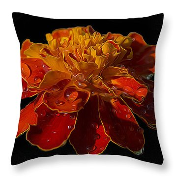 Marigold Tagetes Throw Pillow by Michael Moriarty