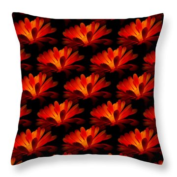 Throw Pillow featuring the photograph Marigolds Pillow By Barbara Moignard by Artists for Altered Cats Cyprus