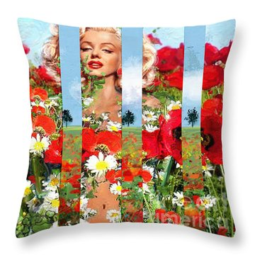 Marilyn In Poppies 1 Throw Pillow