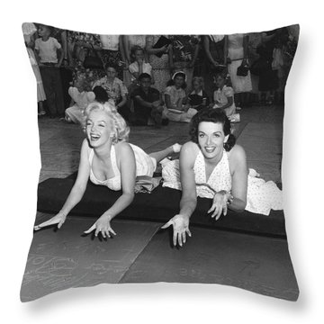 Marilyn Monroe And Jane Russell Throw Pillow