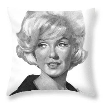 Throw Pillow featuring the drawing Marilyn Monroe - 015 by Abbey Noelle