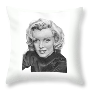 Throw Pillow featuring the drawing Marilyn Monroe - 025 by Abbey Noelle