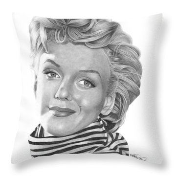 Throw Pillow featuring the drawing Marilyn Monroe - 029 by Abbey Noelle