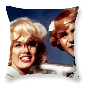 Marilyn Monroe And Jack Lemon Portrait Throw Pillow
