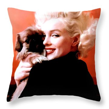 Marilyn Monroe And Pekingese Portrait Throw Pillow