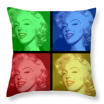 Marilyn Monroe Colored Frame Pop Art Throw Pillow by Daniel Hagerman