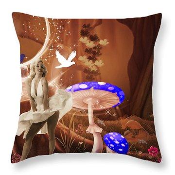 Marilyn Monroe In Fantasy Land Throw Pillow by EricaMaxine  Price