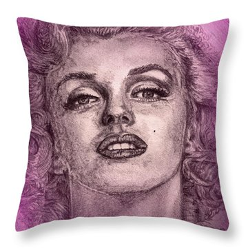 Marilyn Monroe In Pink Throw Pillow by J McCombie