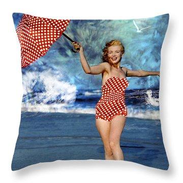 Marilyn Monroe - On The Beach Throw Pillow by EricaMaxine  Price
