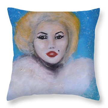 Throw Pillow featuring the painting Marilyn Monroe Out Of The Blue Into The White by Donna Dixon