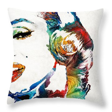 Throw Pillow featuring the painting Marilyn Monroe Painting - Bombshell - By Sharon Cummings by Sharon Cummings