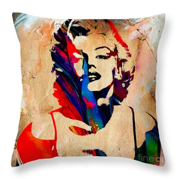 Marilyn Monroe Painting Throw Pillow by Marvin Blaine