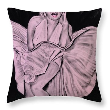 Throw Pillow featuring the drawing Marilyn Monroe Pretty In Pink Lite by Eric Dee