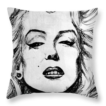 Throw Pillow featuring the painting Marilyn Monroe by Salman Ravish