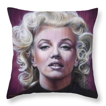 Marilyn Monroe Throw Pillow by Timothy Scoggins