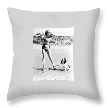 Marilyn Playing Baseball At The Beach Throw Pillow