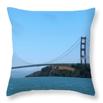 Marin County View Of The Golden Gate Bridge Throw Pillow by Connie Fox