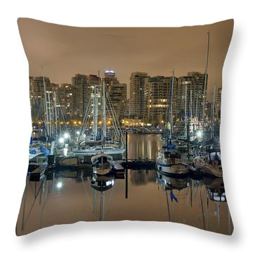 Marina Along Stanley Park In Vancouver Bc Throw Pillow by David Gn
