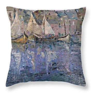 Throw Pillow featuring the painting Marina by AmaS Art